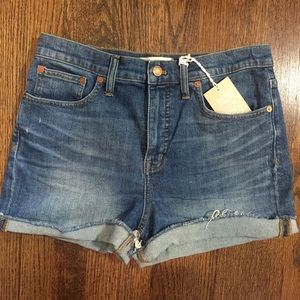 MADEWELL High Rise Cuffed Denim Shorts 29 NWT